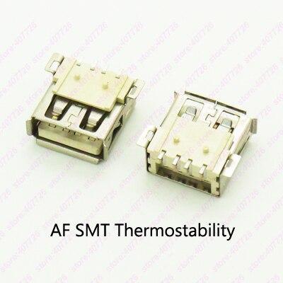 10 шт. разъем USB 2.0 Женский Джек type180 градусов SMT Провода разъем USB разъем термостабильность