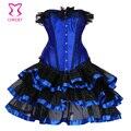 Corzzet corset sexy lingerie satin lace corset top + g-string + saia bustier mini tutu vestido da dança