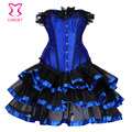 Corzzet lencería sexy corsé de satén corsé de encaje bustier top + g-string + falda mini tutu vestido de la danza