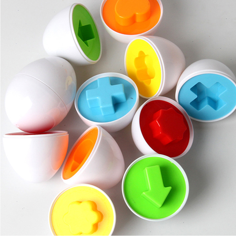 6pcs Paired Eggs Toys For Kids Learning Education Toys Mixed Shape Wise Pretend Puzzle Smart Eggs Smart Baby Learning Toys