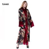 TUHAO Muslim Long Robes Women Velvet Patchwork Floral Print Trench Coats Loose Casual Cardigans Windbreaker With Sashes TD1611