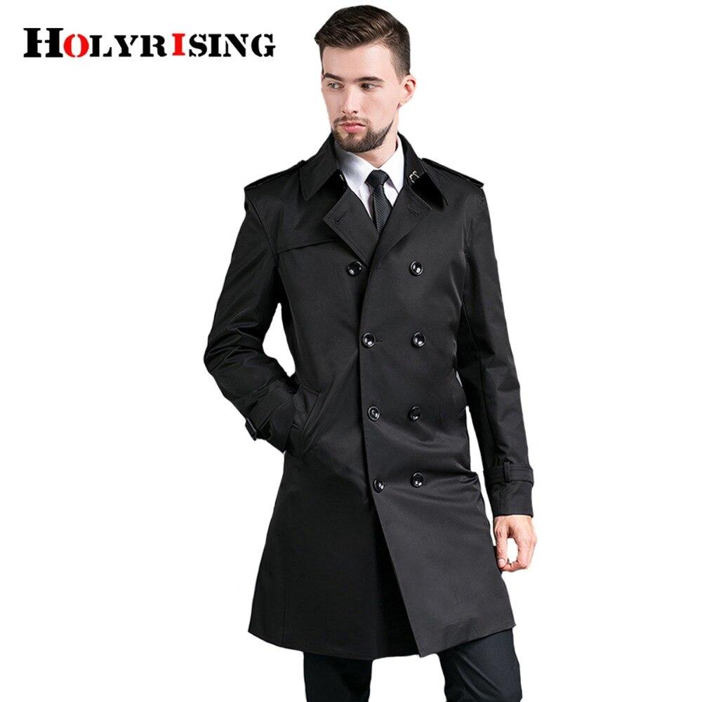 Holyrising 남자 트렌치 코트 더블 버튼 천 슬림 세련된 영국 신사 윈드 코트 망 오버코트 5 색 S 4XL 18489 5-에서트렌치부터 남성 의류 의  그룹 2
