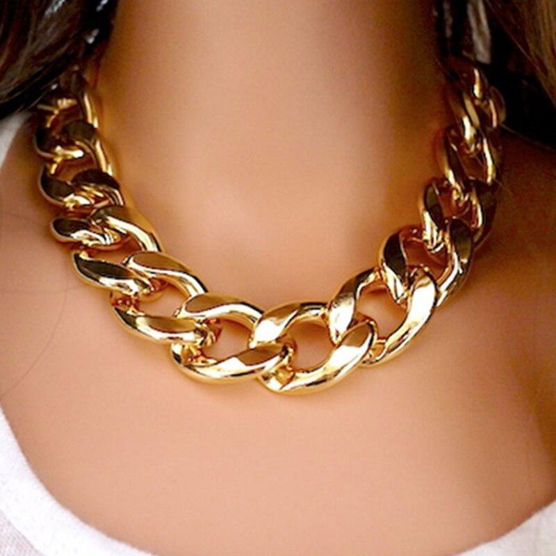 Новые модные ожерелья толстая цепь эффектные ожерелья и подвески женские ювелирные изделия оптом A214G