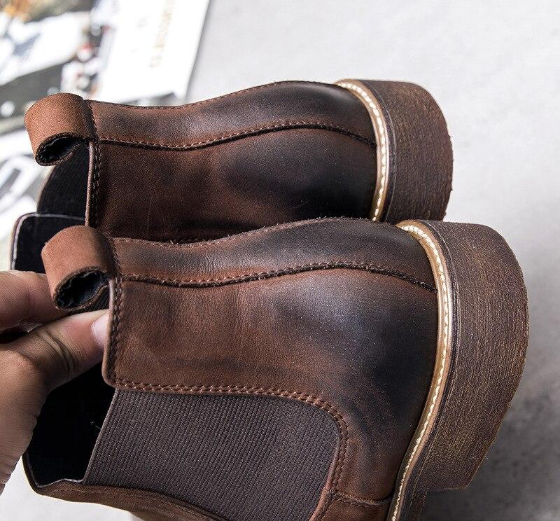 Новинка; мужские ботинки «Челси» из нубука; ботильоны в ретро стиле; английский тренд; мужская деловая обувь; рабочие ботинки; Мужская Сваде... - 5
