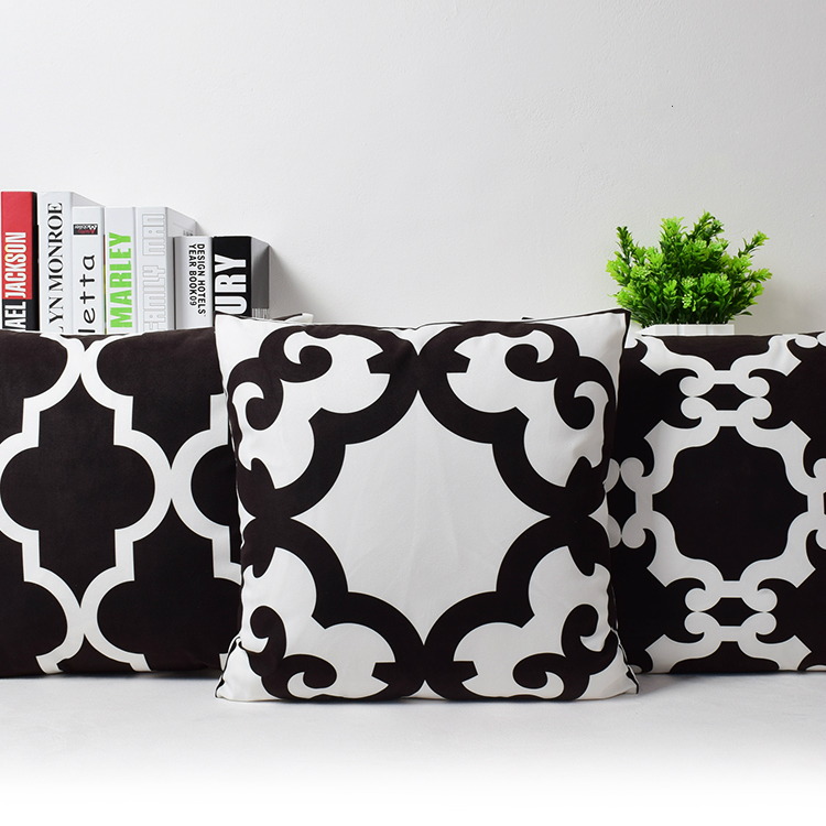 Aliexpress Com Buy New Geometric Abstract Quatrefoil - Sofa Cushions Black And White