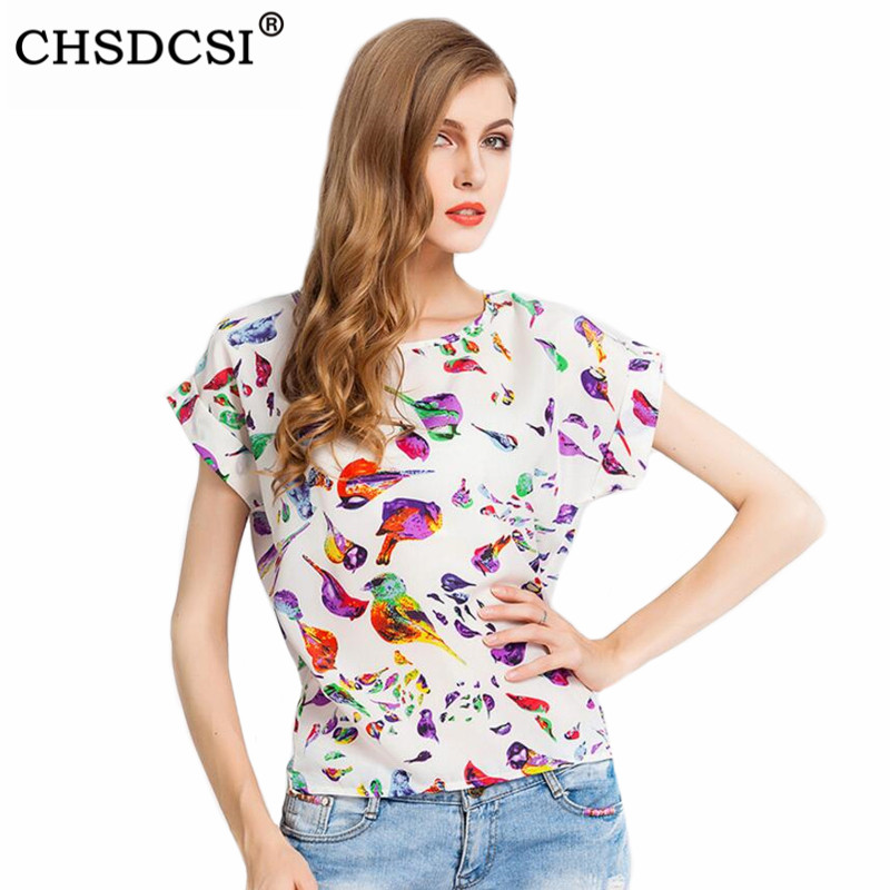 CHSDCSI Women Blouses Shirts Chiffon Feminina Top Tee Loose Shirt 2019 Woman Clothing Feather Blusa Summer Tops Shirt Floral
