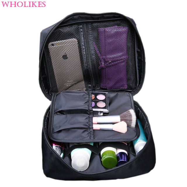 Wholikes Fashion Beautician Cosmetic Storage Makeup Bag Travel Cosmetic Organizer Zipper Portable Make Up Bag Trunk Cosmetic Bag