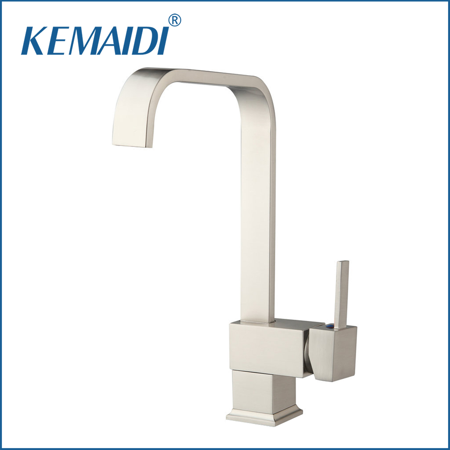 KEMAIDI Fashion Deluxe Kitchen Faucet Mixer Tap Deck Mounted kitchen Faucet Nickel  Brushed Brass Material Kitchen Taps&Faucets kemaidi fashion deluxe kitchen faucet mixer tap deck mounted kitchen faucet nickel brushed brass material kitchen taps
