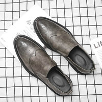 New fashion elegant oxford shoes Men brogue leather Retro carving italian formal dress office loafers Dress Business Shoes OO 59