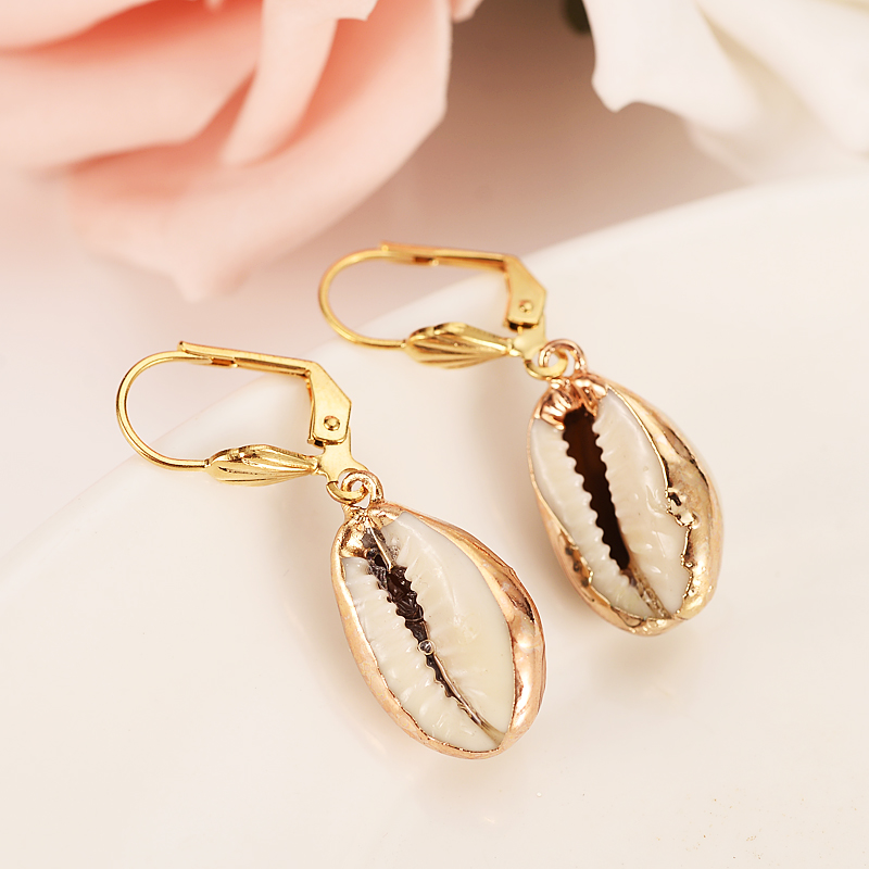 PNG Gold lovely conch shell PNG Dangle Earrings Women Fashion Jewelry Gold natural Drop Earrings For kids Gifts wedding bridal