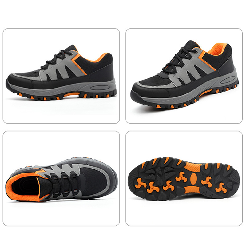 Ar Grey Causal Ao Puncture Respirável Do Durável Sneaker proof Sapatos Trabalho X De Aço Orange Dos Antiderrapante Biqueira Verão Livre Segurança Homens 5Axpqw