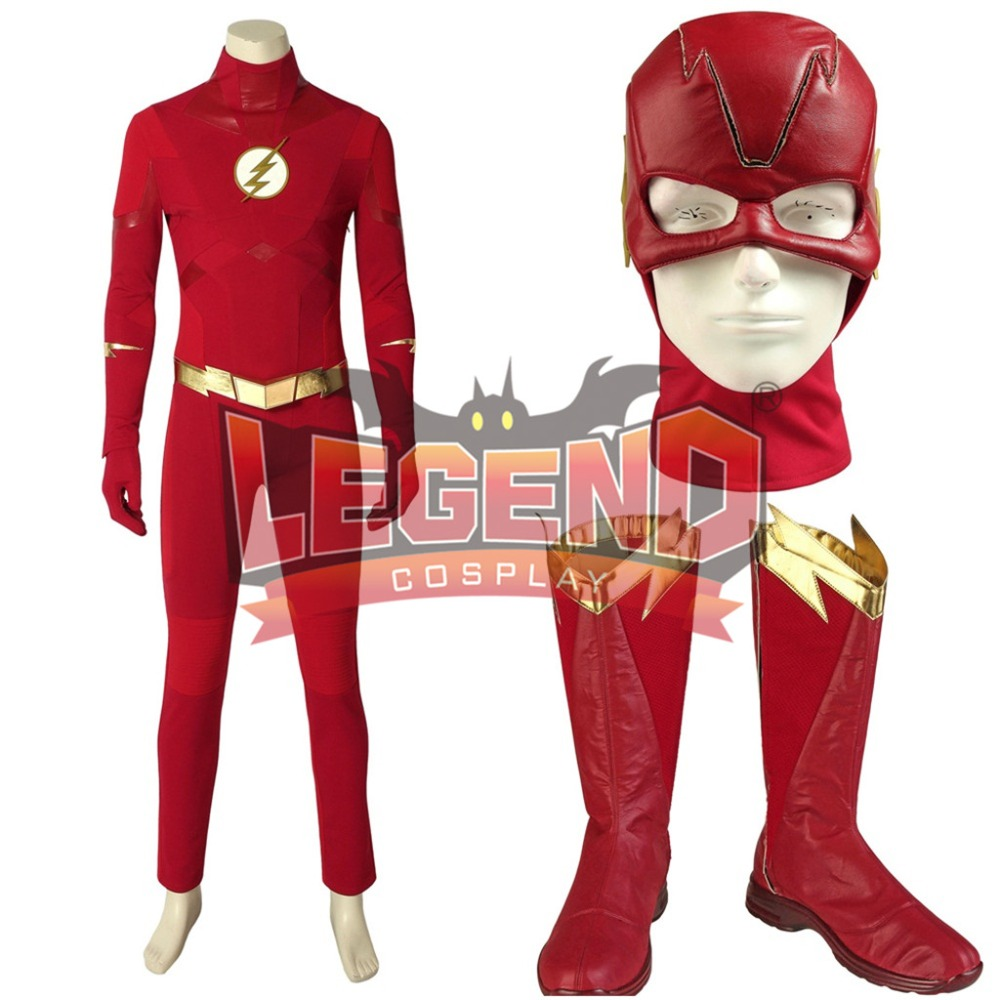 The <font><b>Flash</b></font> Season 5 Cosplay <font><b>Barry</b></font> <font><b>Allen</b></font> <font><b>Costume</b></font> Superhero Outfit cosplay custom made image