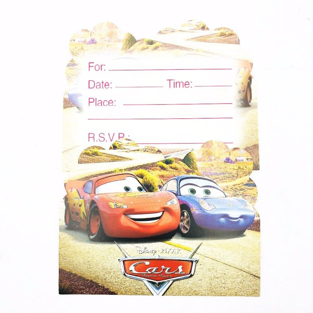 6pcs/bag Disney Cars Lightning Mcqueen Party Supplies Invitation ...