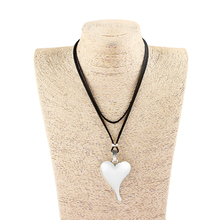 1PCS Antique Silver Large Heart Shape Charms Pendants Faux Suede Velvet Cord Simple Necklace Choker Jewellry цена