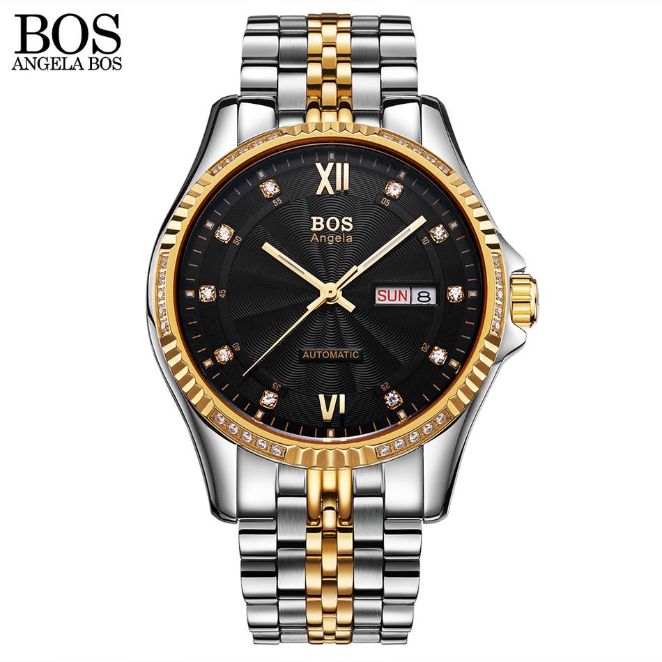 ANGELA BOS Sapphire Mechanical Automatic Watch Men Luminous Calendar Date Waterproof Mens Watches Top Brand Luxury Wristwatches