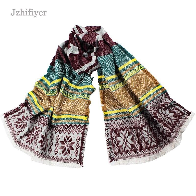 3f4330fc8520 Jzhifiyer YX096 Tricot châle ventes de noël écharpe chaude femmes designer  flocon de neige écharpe châles hiver femmes écharpe bufandas mujer