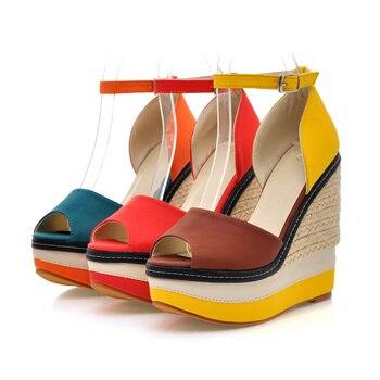 WETKISS Sexy Open toe Weave Patch Color Wedges Gladiator Sandals Women High Heels Platform Sandals Summer Women's Shoes Woman 10