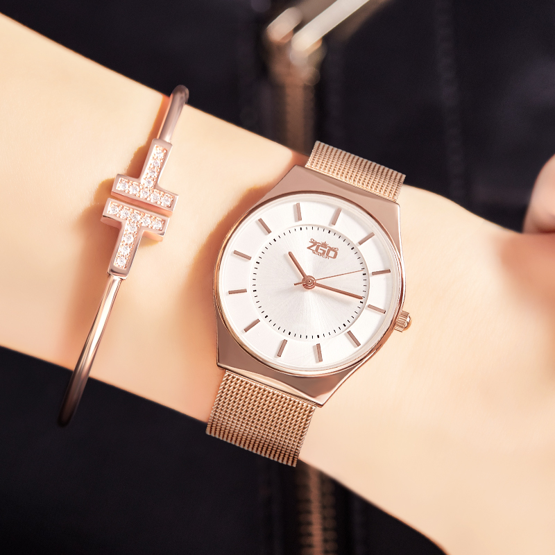Zgo 2018 Fashion Women Watches Luxury Brand Rose Gold Watch Ladies Quartz Wristwatches 3 Bar Waterproof Women Wrist Watch Gift