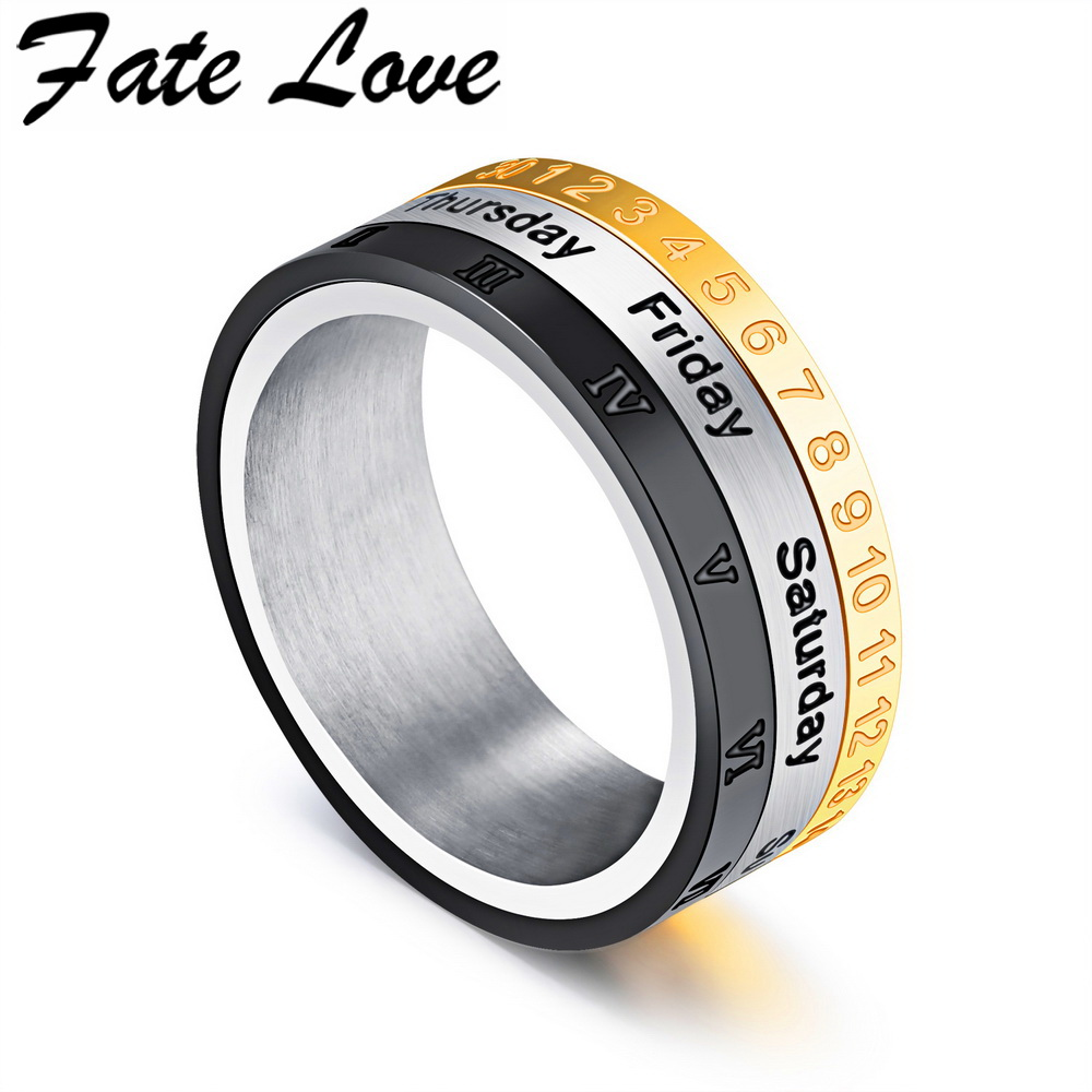 Fate Love Vintage Time Turn Rings Three Color Calendar Week Roman Digital Stainless Steel Jewelry For Man Party Accessory Fl518 In From
