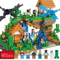 957 PCS My World Building Bricks Model Set Compatible With Legoed MineCrafted Village Blocks Enlighten Gift