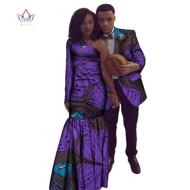 2018 new year African Dashiki for women Autumn Dress Bazin Riche Men Suit Mermaid Party Vestidos Plus Size cotton 4xl BRW WYQ17