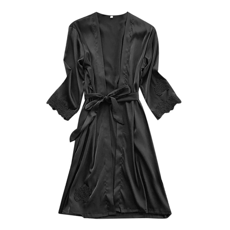Women Silk Nightwear Lingerie Kimono Sleepshirts Bath-Robe Lace Female Elegant Sexy Belt