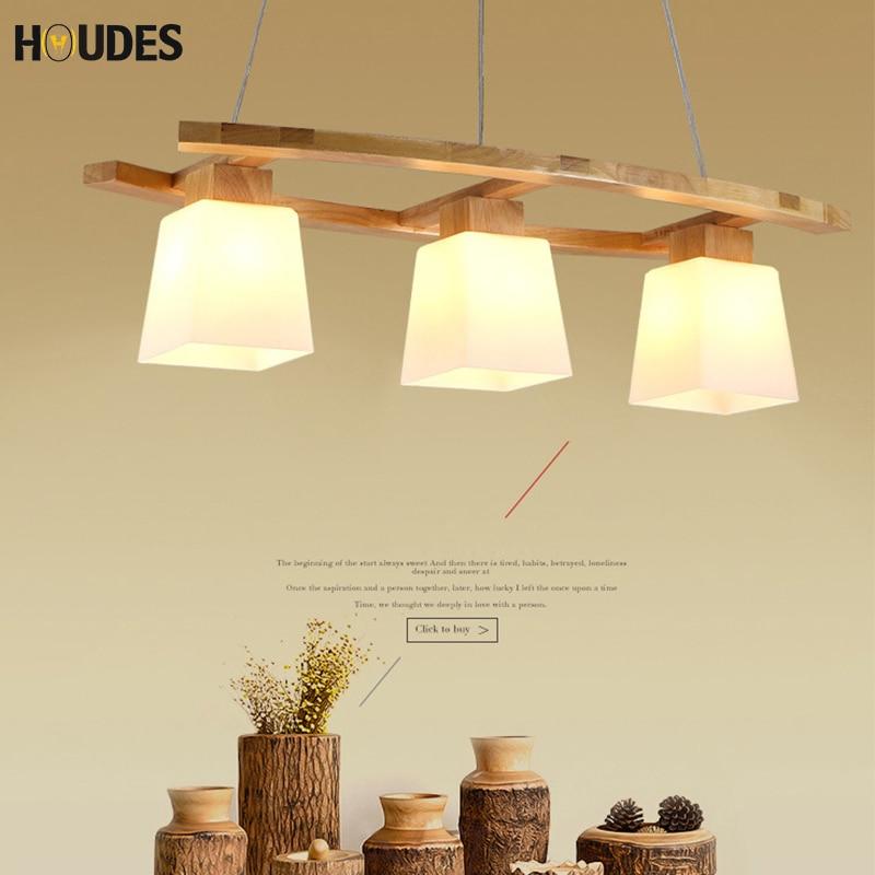 Wooden LED Pendant Lights Japanese three-head LED hanging line lamp Wooden Round Lustre Wood Kitchen Dinning Table Pendant lamp цена