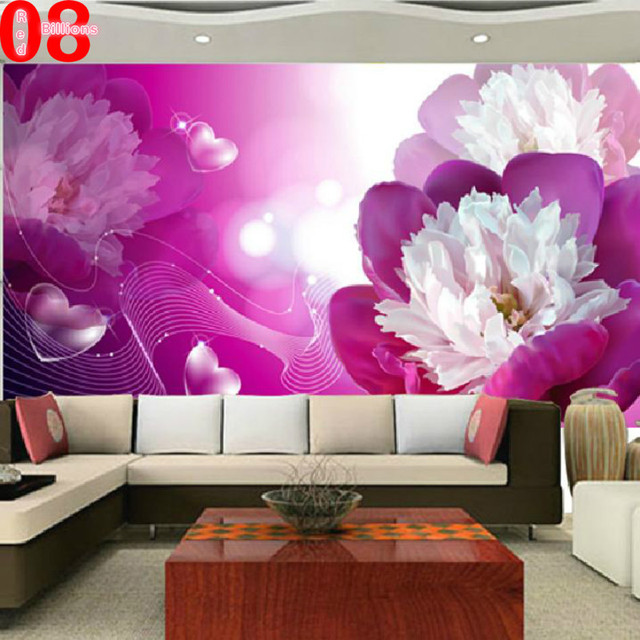 Custom any size large murals floral wallpaper bedroom living room 3d wall paper purple flower for Flower wallpaper for living room