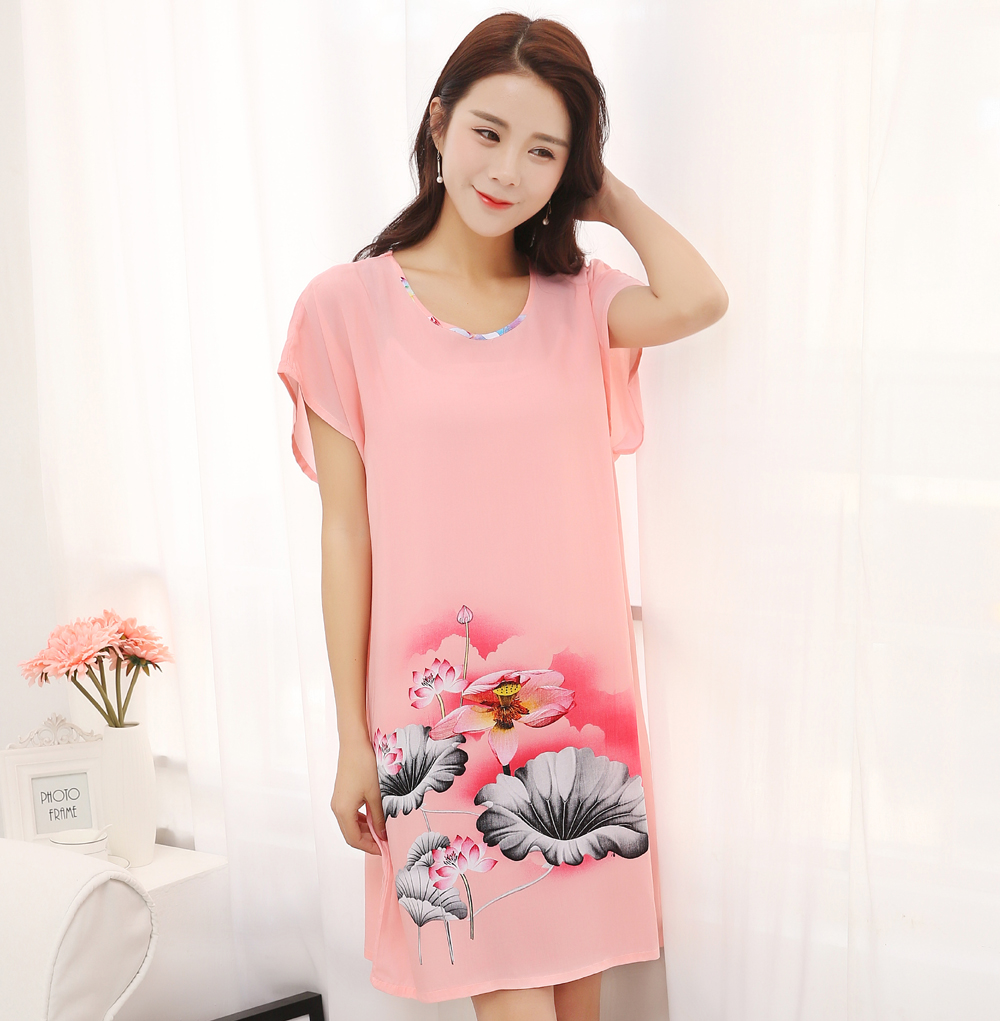 Hot New Pink Women Cotton Summer Night Dress Elegant Flower Sleepshirt Nightwear Soft Casual Sleepwear Bath Robe One Size JA33