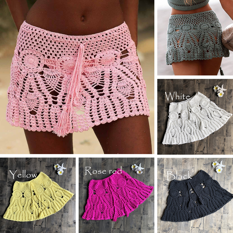 New Sexy Crochet Tassel Beach Skirt Cotton Swimsuit Fused Skirt Casual Beach Running Lace See Through Slim Mini Skirts
