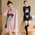 2016 Autumn And Winter New Large Size Women's Dress Cartoon Mickey Mouse Maternity Dress Round Neck Clothes For Pregnant Women