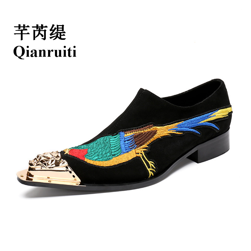Qianruiti Men embroidery bird Loafers Gold Metal Toe Wedding Oxfords High Quality Slip-on Slippers Men Dress Shoe EU39-EU46 qianruiti men slip on loafers metal toe lion head business wedding oxfords silver chain high quality men dress shoe eu39 eu46