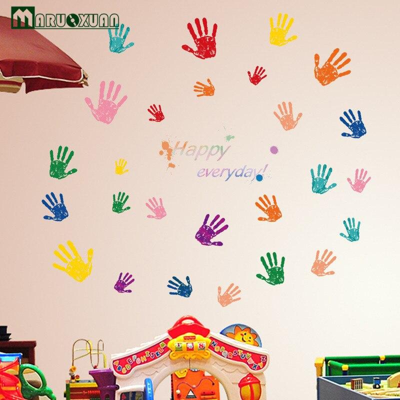 Us 521 13 Offmaruoxuan Lucu Colorful Fingerprint Kamar Anak Anak Tk Sekolah Dasar Kelas Dekoratif Art Wall Stiker In Wall Stickers From Rumah