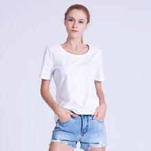 PREISEI mujeres Tops ropa de algodón PIMA Slim Casual Plus tamaño de cuello  redondo de manga corta Tops de verano blanco T camis. 7ee036378bfa4