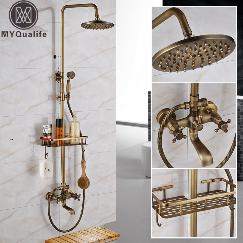 цены на Antique Brass Wall Mounted Bathtub Shower Set Faucet Dual Handle with Commodity Shelf Bathroom Shower Mixers 8