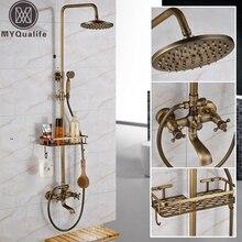 Античная латунь настенный Ванна Душ Набор кран двойная ручка с товарной полкой ванная душ смесители 8 «осадков