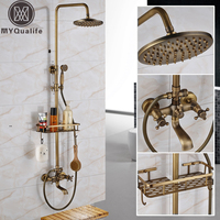 Antique Brass Wall Mounted Bathtub Shower Set Faucet Dual Handle With Commodity Shelf Bathroom Shower