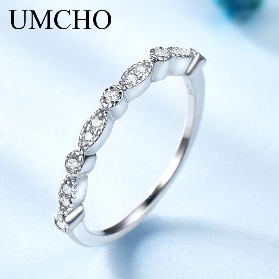 UMCHO Empilhados Sólida Prata Esterlina 925 Anéis Para As Mulheres Anel de Noivado Casamento Moda Coréia Do Anel de Prata 925 Jóias Gravura