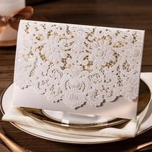Printable Laser Cut White Wedding Invitation Card with Embossed Flower CW073 (Set of 50) with Envelope & Seal Free Shipping