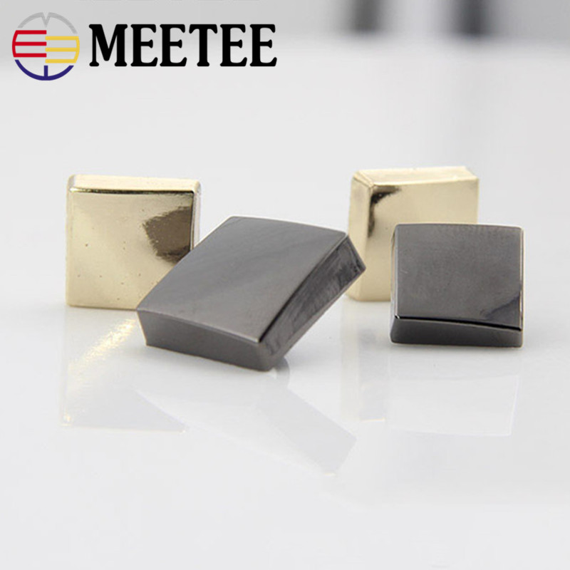 MEETEE 2018 10pcs Sewing Flat Top Button Men And Women Shirt Clothes Metal Buttons Black Gold Monopoly 12mm 15mm E4-39
