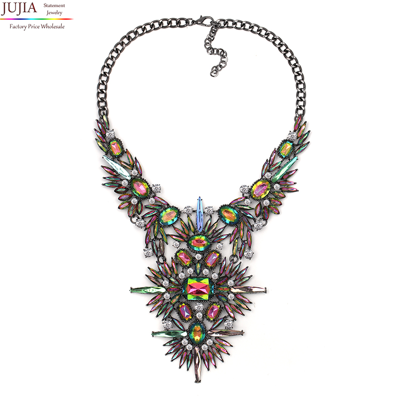 JUJIA 2 colors wholesale 2017 New women fashion necklace costume maxi pendant statement Necklace for women