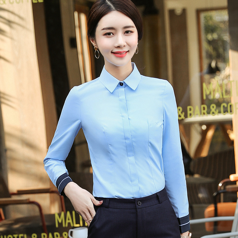 New Fashion Women Shirt Winter Formal Elegant White Blouse Office Ladies Work Wear Shirt Plus Size Tops Blue Blusa Feminina