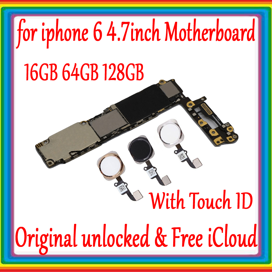 Galleria fotografica Free iCloud for iphone 6 4.7inch Motherboard 16GB 64GB 128GB 100%Original unlocked for iphone 6 Mainboard With/ Without Touch ID