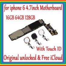 Нет iCloud для iphone 6 4,7 дюйма материнская плата 16 Гб 64 Гб 128 ГБ 100% Оригинал разблокирована для iphone 6 материнская плата с/без Touch ID
