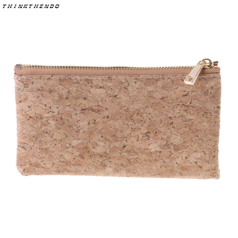 THINKTHENDO Fashion Women Coin Purse Mini Wallet Soft Money Bag Pouch Eco-friendly Key Cork Card Holder Case Sweet Girl New Hot