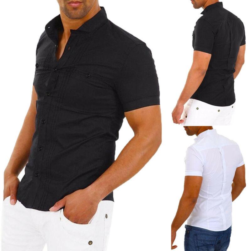 Летняя мужская рубашка, Стильное повседневное платье, Облегающая рубашка с коротким рукавом, плиссированные классические деловые Рубашки, ...
