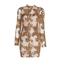 Night Club Dresses 2016 Sexy Sequin Dress Bodycon New Fashion Long Sleeve Bodycon Bandage Dress Gold