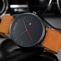 2016 Fashion Casual Mens Watches Top Brand Luxury High Quality Leather Waterproof Quartz Wrist Watches Relogio