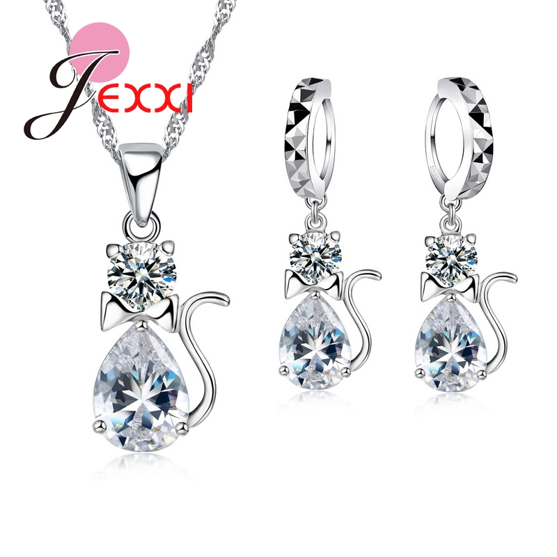 Lovely Animal Design 925 Sterling Silver Women Jewelry Sets Accessories Cat Crystal Waterdrop Earrings Necklace Pendant