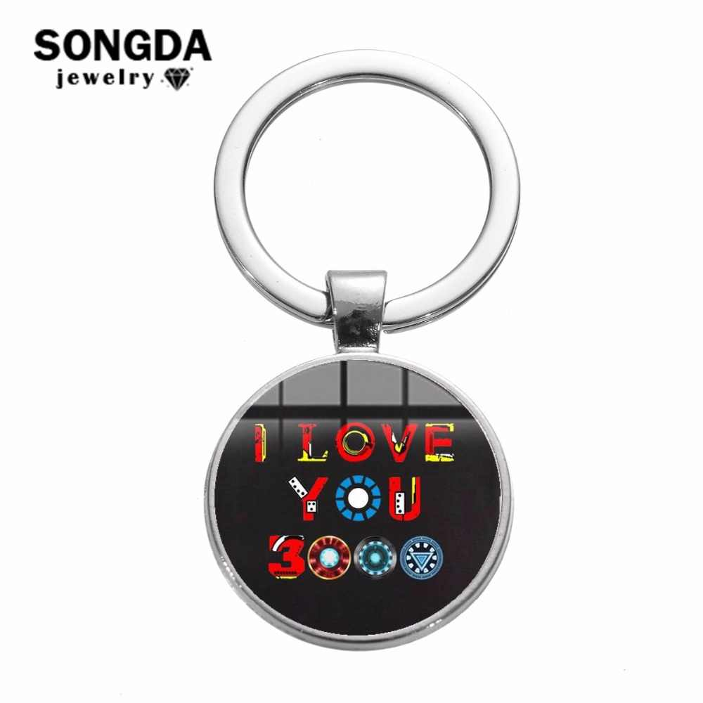 SONGDA I Love You 3000 ครั้ง Iron Man Tony Stark พวงกุญแจหัวใจ Marvel Avengers 4 Endgame Quantum Realm Collection key Chain